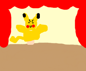 freaky pikachu puppet show drawing by amber7761 drawception
