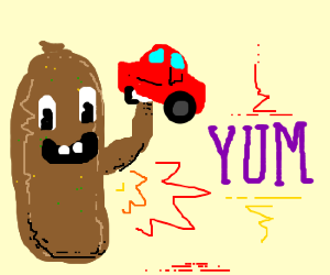Giant turd prepares to eat car