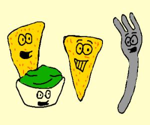 Guacamole, tortilla chips & a fork