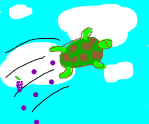 Flying turtle poops grapes