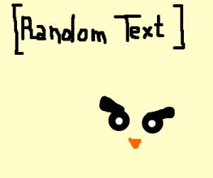 An owl, with some random text
