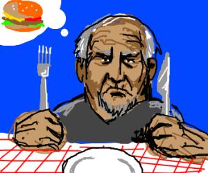 old man wants burger