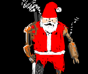 Santa with steampunk limb replacements
