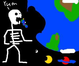 skeleton ate universe