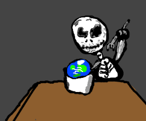 Giant skeleton eats planets