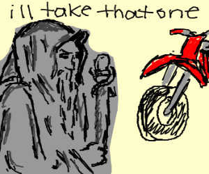Gandalf buys a motorcycle