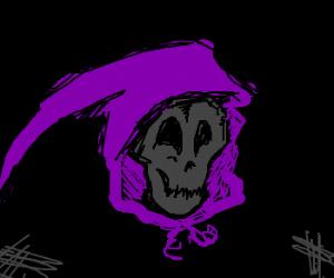 a skull in purple hood is amused