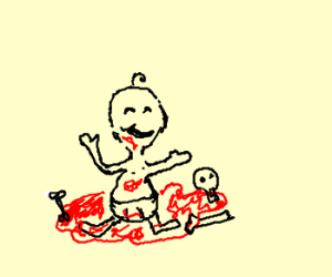 baby happily playing in blood and gore