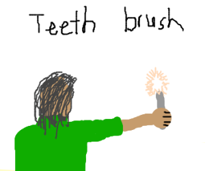 Brushing teeth with toilet bowl brush