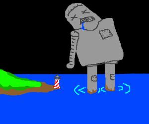 Gigantic robot drowned in ocean