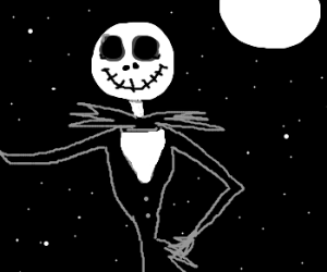 Jack Skellington in the moonlight