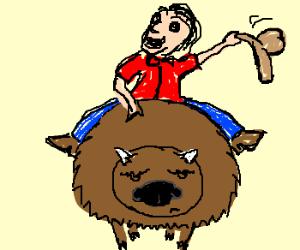 cc7e8ef5 Man on a buffalo - Drawception