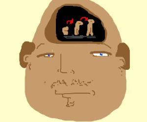 Balding man thinks about evolution