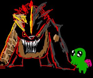 Akantor taunts Cutethulhu