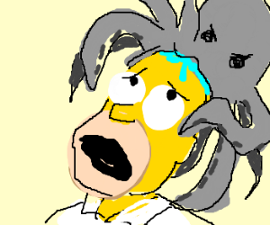 Grey octopus is about to eat Homers head