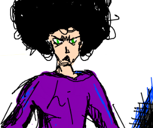 Green-eyed angry fro-man