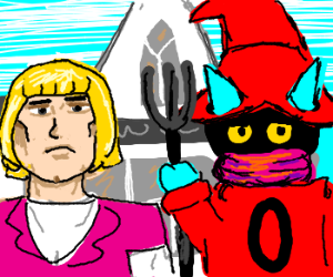 Orko & rubber He-man in American Gothic
