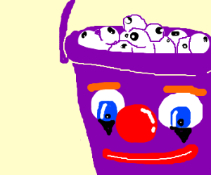 Bucket w/ clown face w/ eyeballs inside
