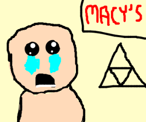 Isaac goes shopping with the triforce.
