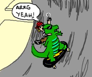 A pirate on a dinosaur on a skateboard