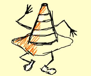 dancing traffic cone