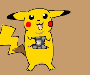 Pikachu carrying companion cube.