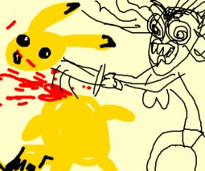 Strange woman decapitates Pikachu
