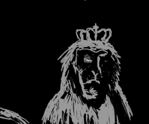 Monkey king with a crown in the dark