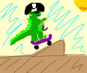 skateboarding dinosaur pirate on a ramp