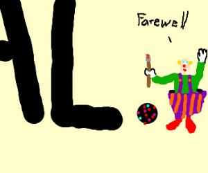 Punctuation clown bids farewell