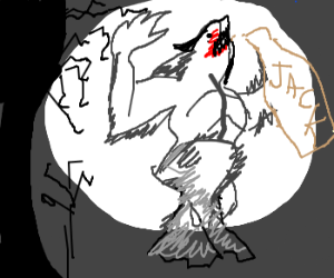 werewolf Gets drunk on Jack Daniels
