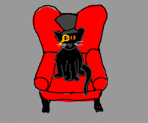 Sir black cat in a red chair