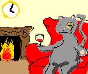 gentleman cat on red armchair