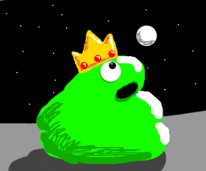 Green talking substance with a crown