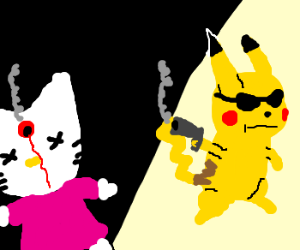 pikachu vs hello kitty drawception