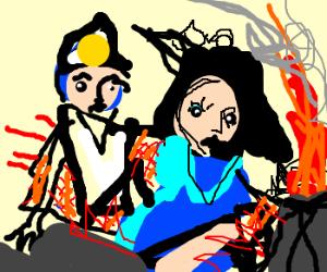 aladin,jasmine have rug accident volcano