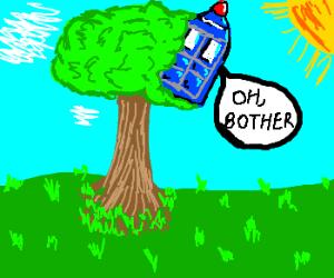 Tardis crashed in a tree