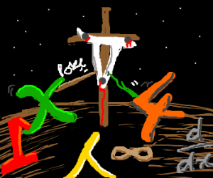 x and 4 poking a crucified... pi?