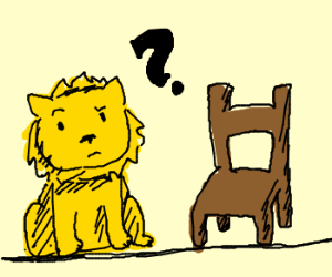 Lion is cirous about chair