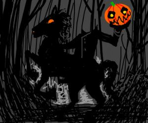 Headless Horseman about to throw pumpkin