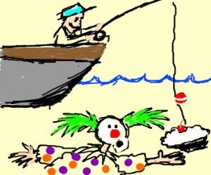 Fisherman trying to lure in a Sea Clown.