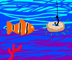 fish encounters a smelly donut