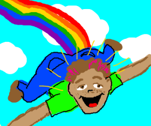 Happy boy poots rainbows