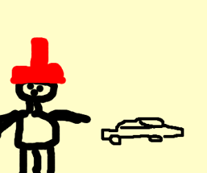 man with hat and a car