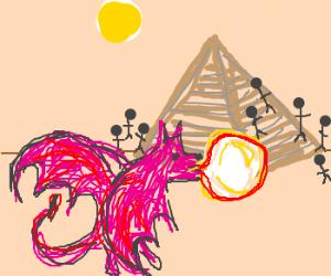 Baby dragon shows gum ballon to pyramid