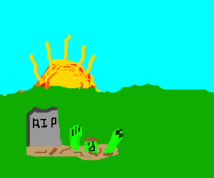 Zombie rises from grave at dawn