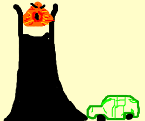 Barad-dûr doesn't like green aztec cars