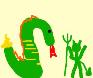 Serpent and green satan start battle