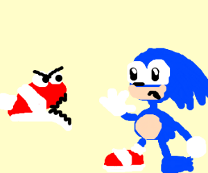 Sonic's left shoe is going to eat him