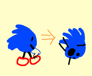 Sonic fell because fails at shoe lacing
